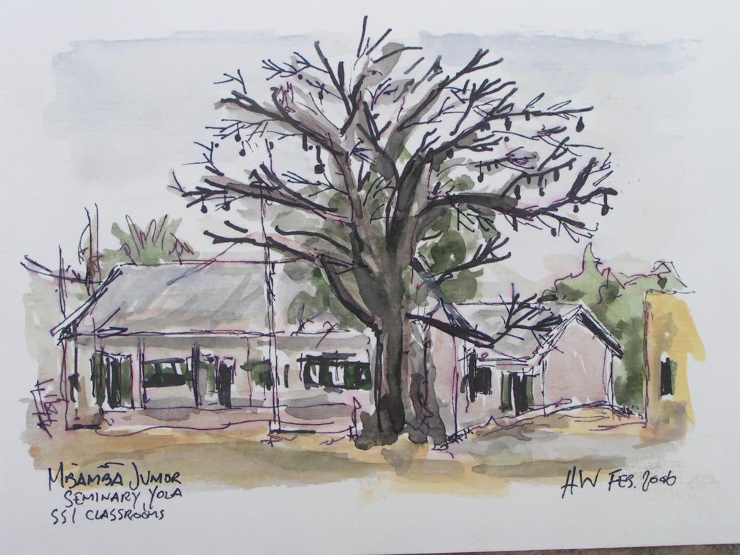 Hans Wendelboe Bøcher - Mbamba-akvarel 2006